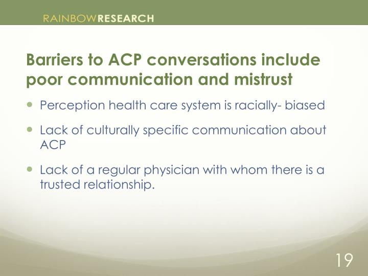 Barriers to ACP conversations include poor communication and mistrust