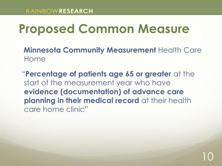 Proposed Common Measure