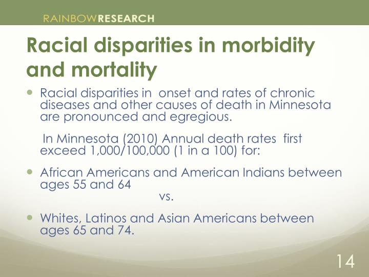 Racial disparities in morbidity and mortality