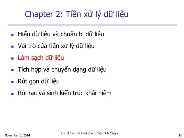 Chapter 2: Tiền xử lý dữ liệu