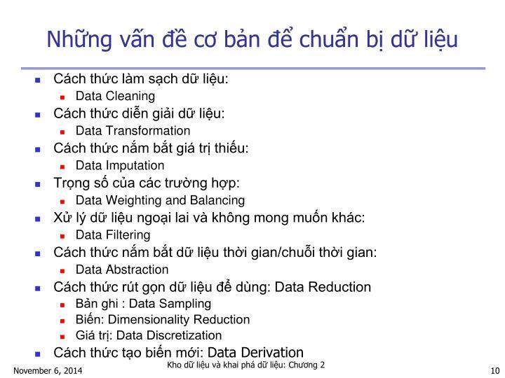 Những vấn đề cơ bản để chuẩn bị dữ liệu