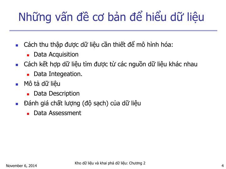 Những vấn đề cơ bản để hiểu dữ liệu