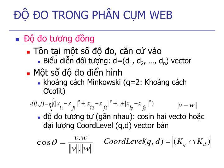 ĐỘ ĐO TRONG PHÂN CỤM WEB