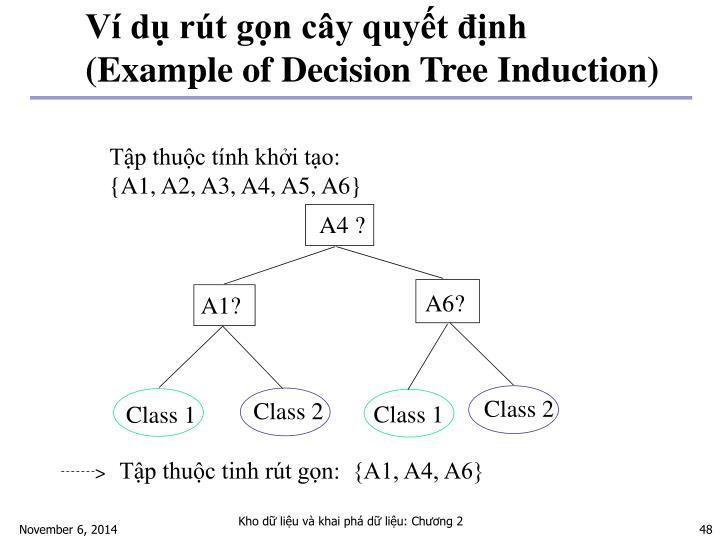 Ví dụ rút gọn cây quyết định (Example of Decision Tree Induction)