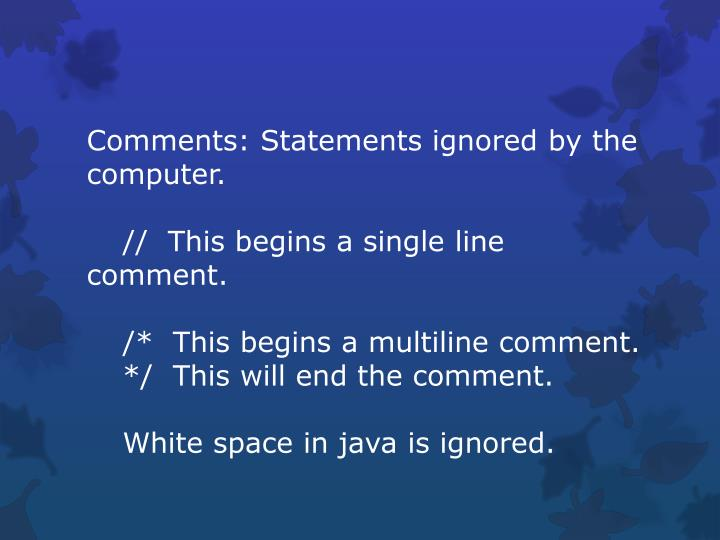 Comments: Statements ignored by the computer.