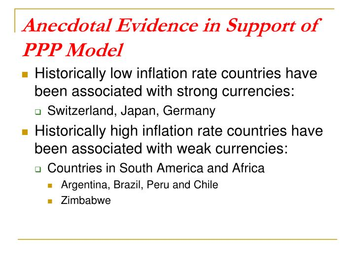 Anecdotal Evidence in Support of PPP Model