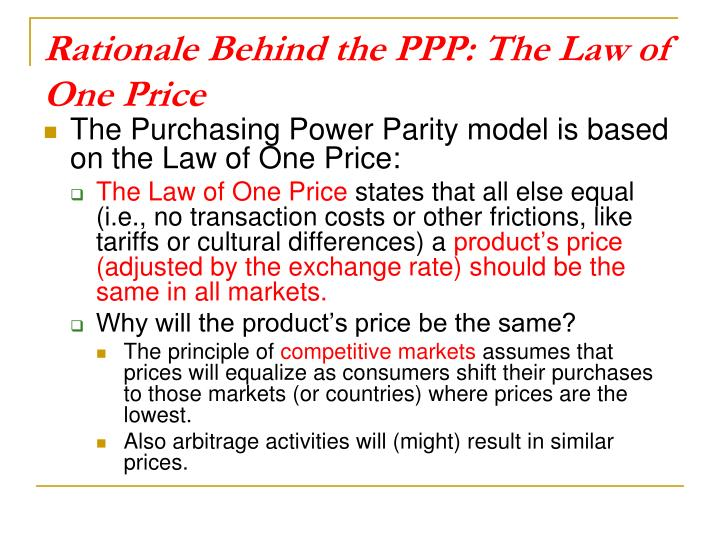 Rationale Behind the PPP: The Law of One Price