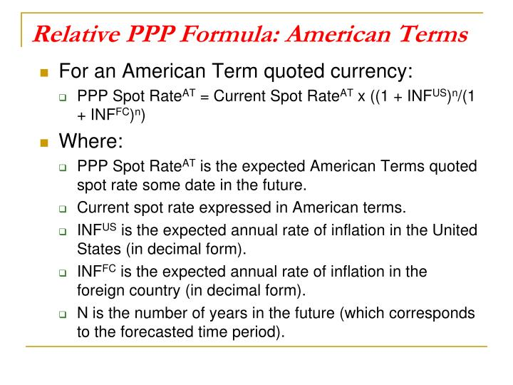 Relative PPP Formula: American Terms