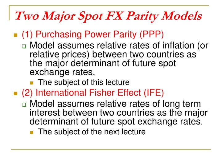 Two Major Spot FX Parity Models