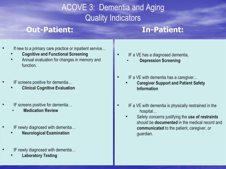 acove 3 dementia and aging quality indicators