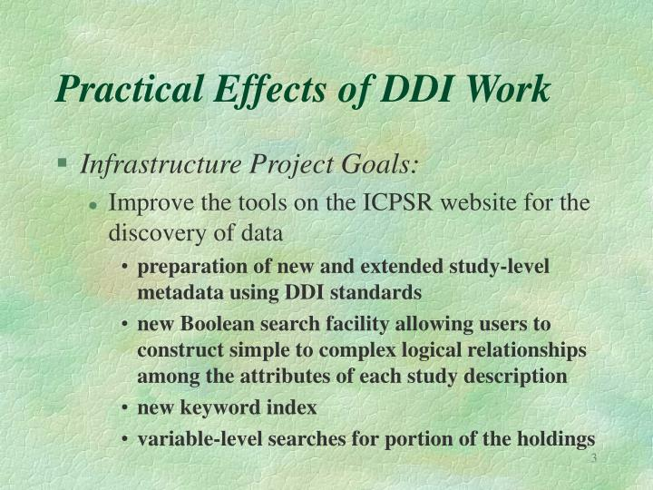 Practical effects of ddi work1