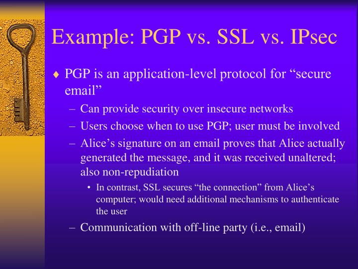 Example: PGP vs. SSL vs. IPsec