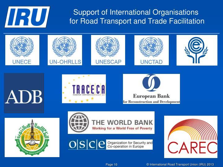 Support of International Organisations