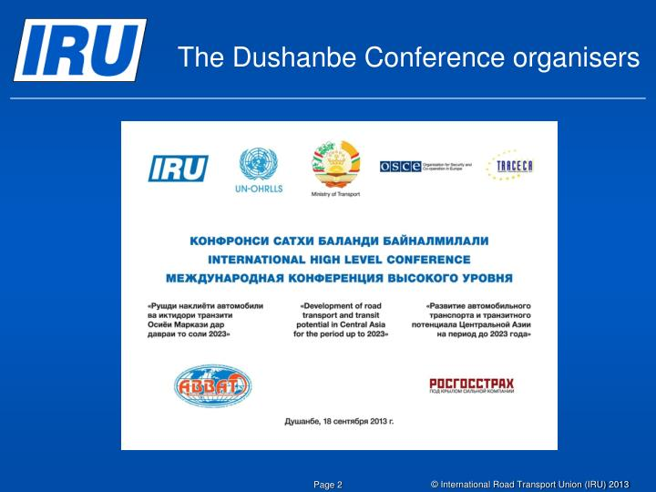 The Dushanbe Conference organisers