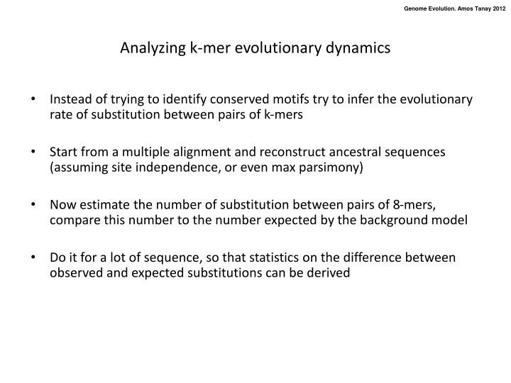 Analyzing k-mer evolutionary dynamics