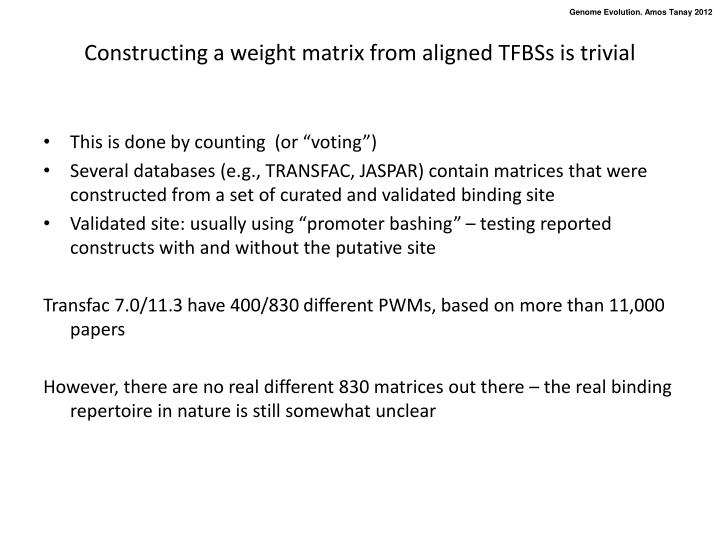 Constructing a weight matrix from aligned TFBSs is trivial