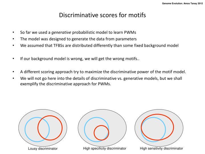 Discriminative scores for motifs
