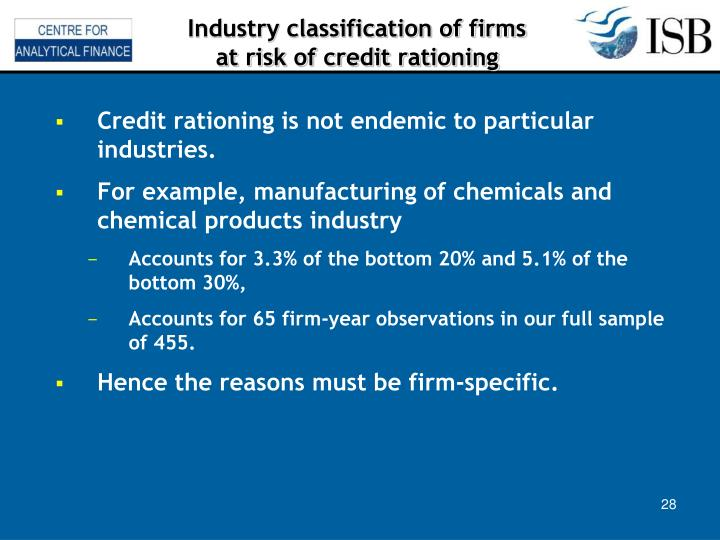 Industry classification of firms