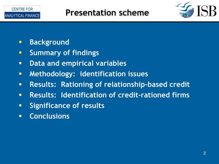 Presentation scheme