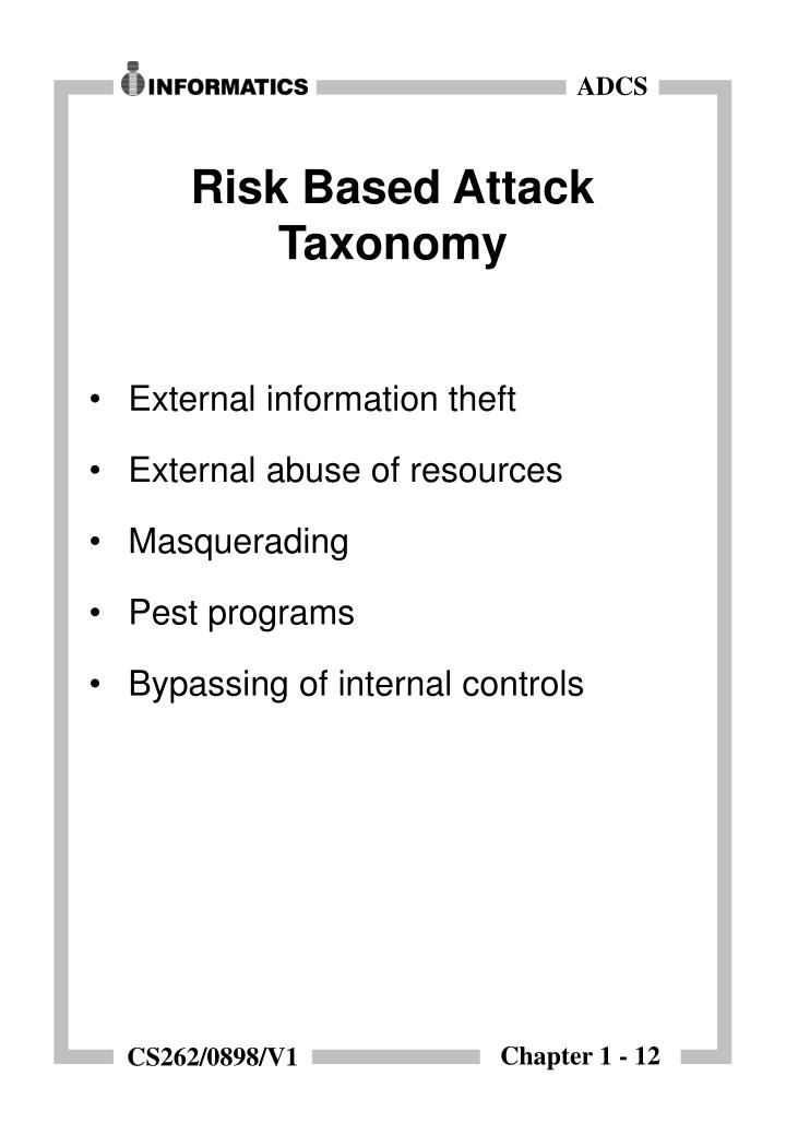 Risk Based Attack Taxonomy