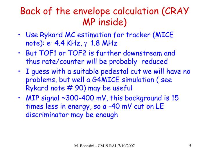 Back of the envelope calculation (CRAY MP inside)