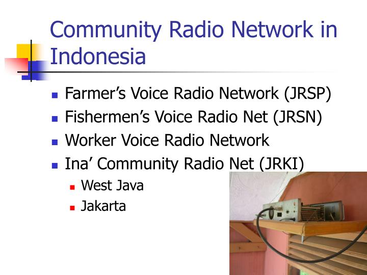 Community Radio Network in Indonesia