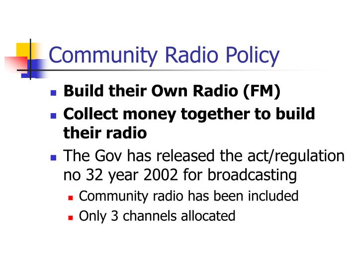Community Radio Policy