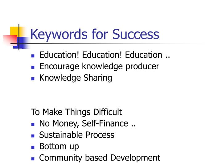 Keywords for Success