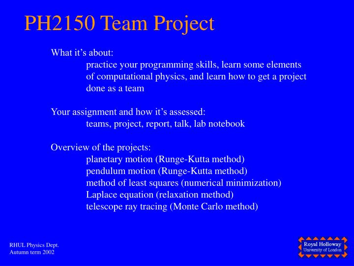 PH2150 Team Project