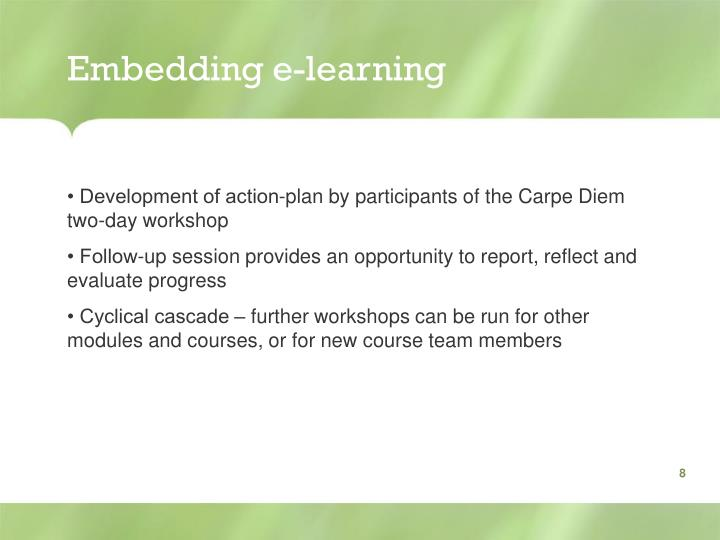 Embedding e-learning