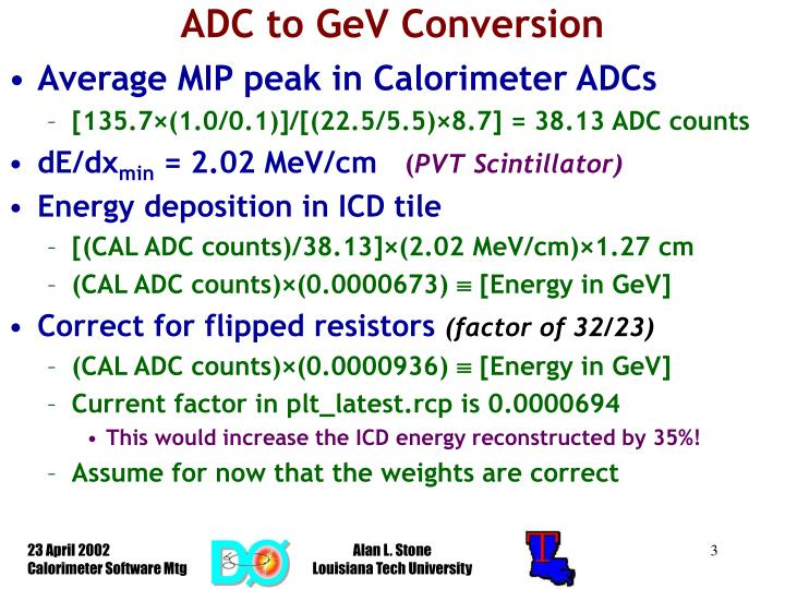 ADC to GeV Conversion