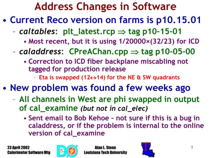 Address Changes in Software