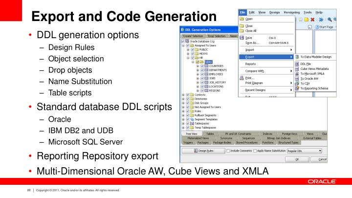 Export and Code Generation