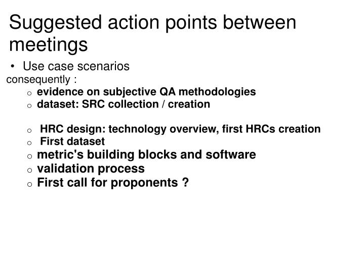 Suggested action points between meetings