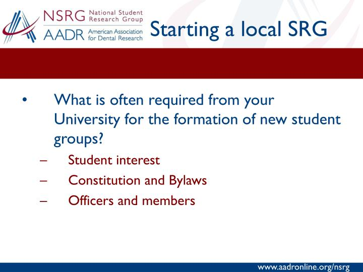 Starting a local SRG