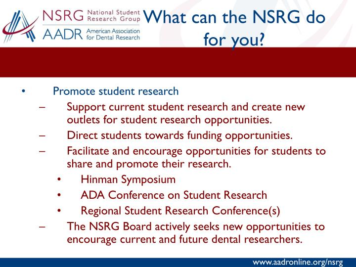 What can the NSRG do for you?