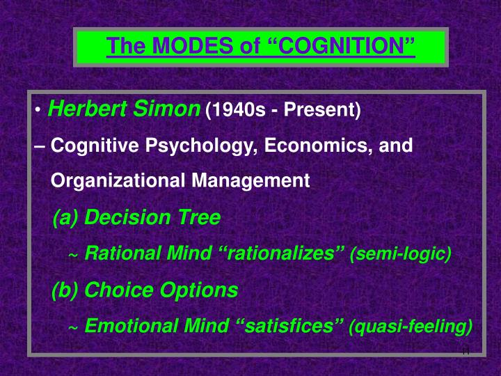 "The MODES of ""COGNITION"""