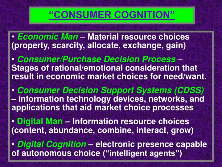"""CONSUMER COGNITION"""