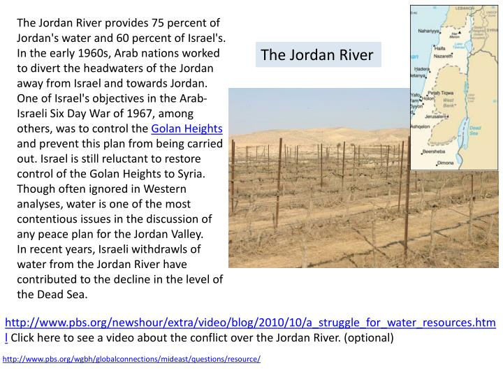 The Jordan River provides 75 percent of Jordan's water and 60 percent of Israel's. In the early 1960...