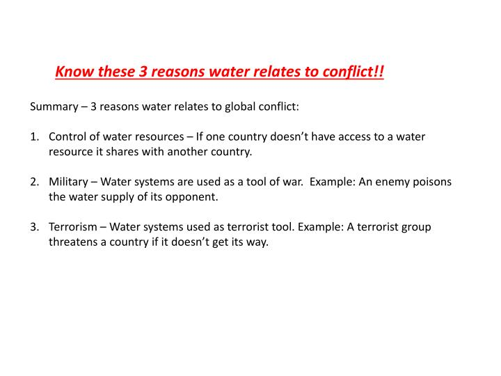Know these 3 reasons water relates to conflict!!