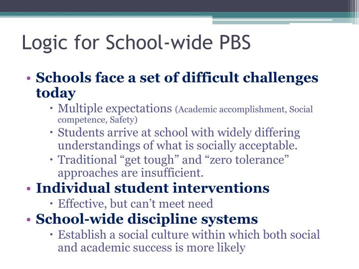 Logic for School-wide PBS