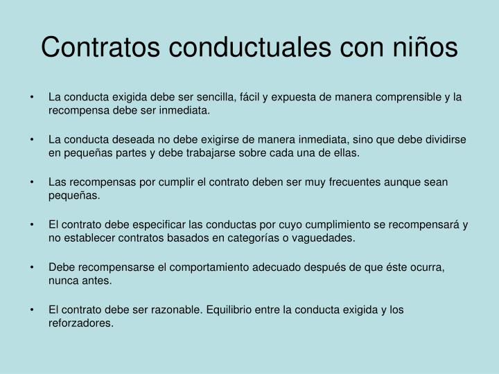 Contratos conductuales con niños