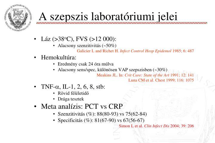 A szepszis laboratóriumi jelei