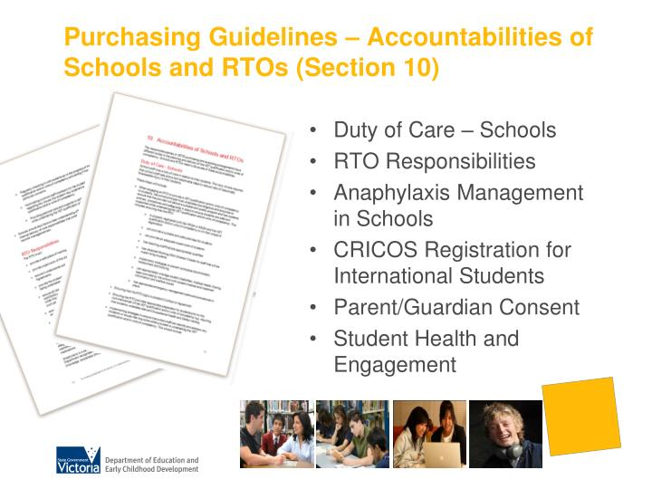 Purchasing Guidelines – Accountabilities of Schools and RTOs (Section 10)