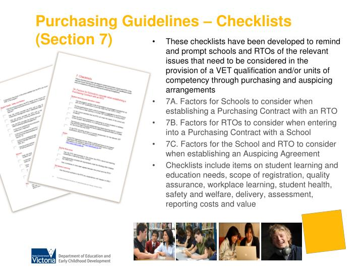Purchasing Guidelines – Checklists (Section 7)