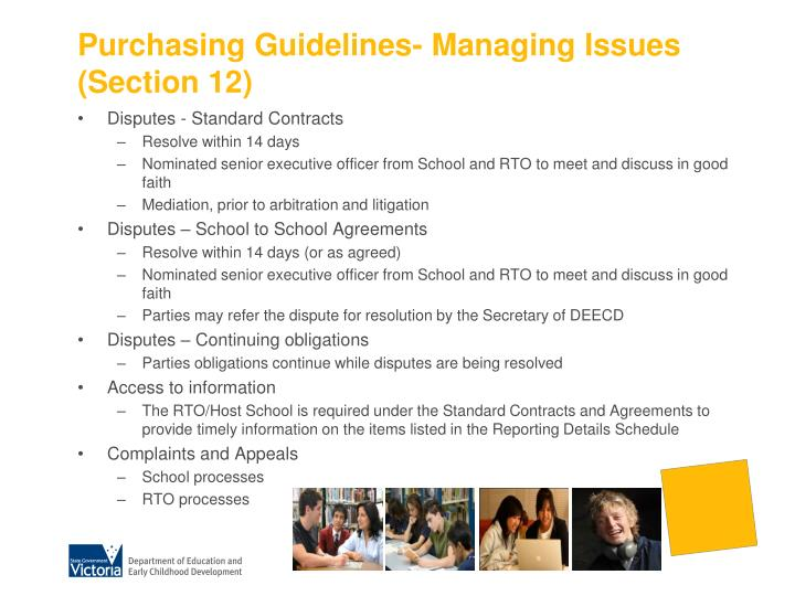 Purchasing Guidelines- Managing Issues (Section 12)