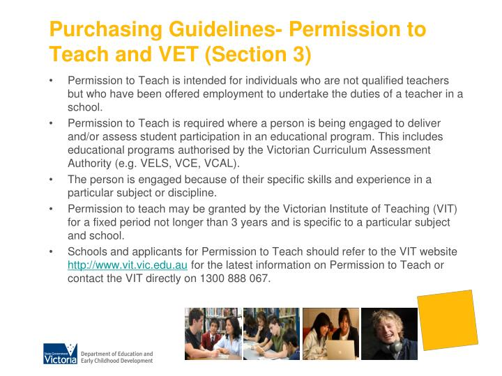 Purchasing Guidelines- Permission to Teach and VET (Section 3)