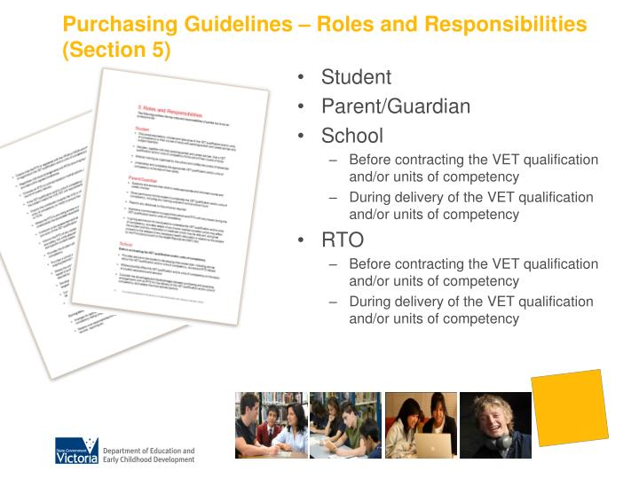Purchasing Guidelines – Roles and Responsibilities (Section 5)
