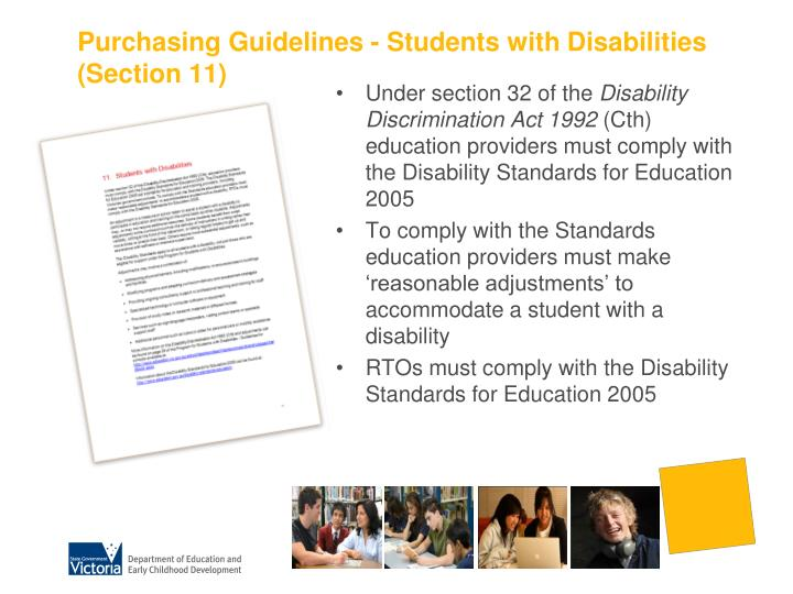 Purchasing Guidelines - Students with Disabilities (Section 11)