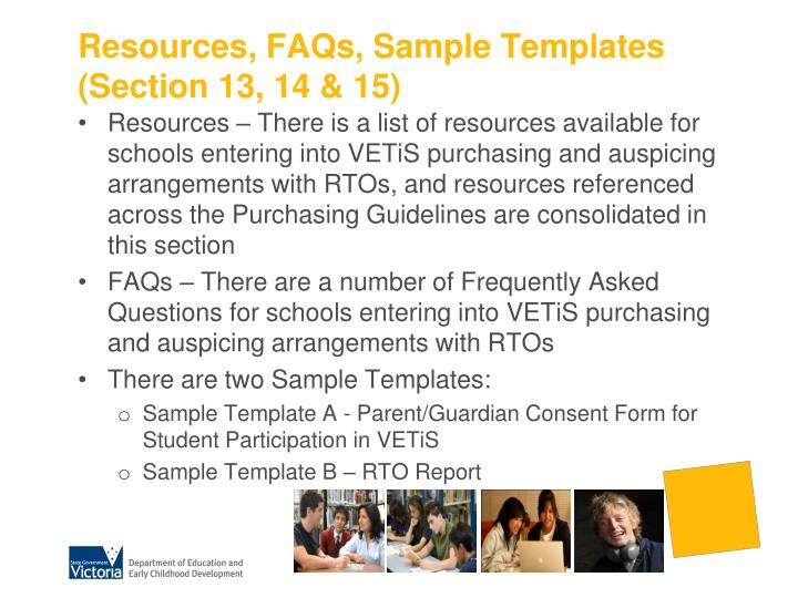Resources, FAQs, Sample Templates (Section 13, 14 & 15)